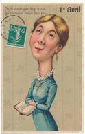 1er AVRIL - Femme Caricature , Humour, Carte Gauffrée, Embossed - 1° Aprile (pesce Di Aprile)