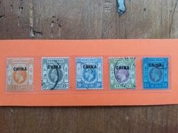 CINA 1922/27 - Uffici Inglesi Nn. 53/57 Timbrati + Spedizione Prioritaria - China