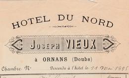 Petite Facture 1895 / Joseph VIEUX / Hôtel Du Nord /  Ornans / 25 Doubs - France