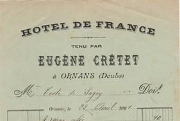 Petite Facture 1901 / Eugène CRETET / Hôtel De France /  Ornans / 25 Doubs / à Teste De Sagey - France