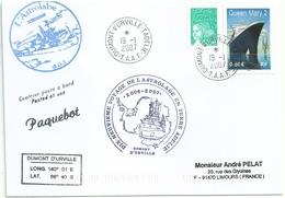 YT 3631 Bateau Queen Mary - Posté à Bord De L'Astrolabe - Paquebot - Dumont D'Urville - Terre Adélie - 19/01/2007 - Lettres & Documents