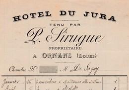 Petite Facture 1901 / P. SIRUGUE / Hôtel Du Jura / Omnibus, Course à Lods / 25 Ornans / Doubs / à De Sagey - France
