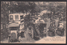 Correeur Des Bds Montmartre Et Des Italiens La Station Des Omnibus Color Carte Droschken Kutschen Um 1905, Paris - Openbaar Vervoer
