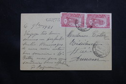 CÔTE DES SOMALIS - Affranchissement Plaisant  De Djibouti Sur Carte Postale En 1921 Pour L 'Indochine - L 54958 - Côte Française Des Somalis (1894-1967)
