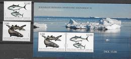 GREENLAND, 2020, MNH, FISH IN GREENLAND, PART III, SHARKS, GREENLAND SHARK, 2v+S/SHEET - Fishes