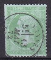 France N°20  (Napoleon III  5c Vert - 1862 Napoléon III