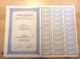 """Titre De 10 Actions Sans Désignation De Valeur Nominale, Au Porteur """"Exotic Products Société Anonyme"""" 1997 Ixelles - Actions & Titres"""
