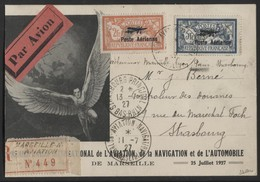 """Lot H85 FRANCE - N° PA 1/2 Paire Merson Surchargée Oblitérée """"SALON DE L'AVIATION / MARSEILLE 11/7/27"""" Sur CP De L'Expo - Luchtpost"""