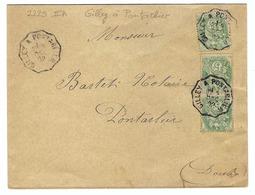 FRANCE 1901: LSC Intéressante,  Affranchie De 15c. Avec Belles Obl. CAD ''Convoyeur De Ligne'' - Storia Postale