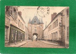 89 Villeneuve Sur Yonne Porte De Joigny Magasin Jouanneau Animation   CPA 1924 - Villeneuve-sur-Yonne