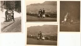 Lot De 4 Photographies Anciennes De Scooter, Vespa Biplace En Vallée D'Ossau (64), Neige, Vers La Fin Des Années 1950 - Coches