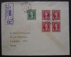 Montréal 1937 Lettre Recommandée Pour Paris, France Avec N° 192 Bloc De 4 + N° 190 - Briefe U. Dokumente
