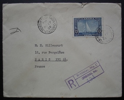 Montréal 1935 Lettre Recommandée Avec N° 178 Seul Sur Lettre, Thème Bateau, Pour Paris, France - Storia Postale