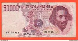 50 Mila 50000 Lire 1978 Bernini Repubblica Italiana I° Tipo - 50000 Lire