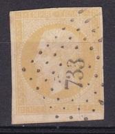 France N°13B ( Napoleon III  10c Bistre Jaune) PC 733 - 1853-1860 Napoleone III