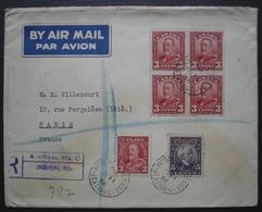 Montréal 1936 Lettre Recommandée Avec N°124 + 145 (Bloc De 4 +1), Pour Paris, France - Storia Postale