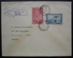 Montréal 1938 Lettre Recommandée Avec N°197 + PA. 6, Pour Paris, France - 1937-1952 Regno Di George VI
