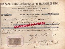 87 - LIMOGES - RARE RECU COMPAGNIE CENTRALE ECLAIRAGE TRANSPORT DE FORCE ELECTRICITE-M. SAGNE LUBERSAC-1902 - Electricity & Gas