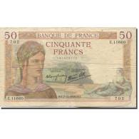 France, 50 Francs, Cérès, 1939, 1939-12-07, TTB, Fayette:18.35, KM:85b - 50 F 1934-1940 ''Cérès''