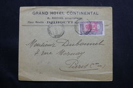 CÔTE DES SOMALIS - Enveloppe Du Grand Hôtel Continental De Djibouti En 1919 Pour Paris - L 54998 - Côte Française Des Somalis (1894-1967)