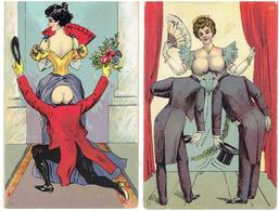 Érotique, Érotica, Erotic - FEMME NUE - Fantasie - 2 Cartes Postales - Erotik Bis 1960 (nur Erwachsene)