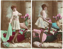 Érotique, Érotica, Erotic - FEMME NUE - Fantasie - 2 Cartes Postales - Nus Adultes (< 1960)