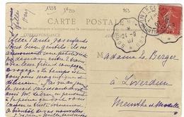 FRANCE 1907: CP Intéressante Affranchie à 10c. (Y&T 146) Avec Très Beaux CAD ''Convoyeur De Ligne'' - Frankrijk