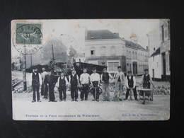 WATERMAEL - BOITSFORT ; Ouvriers , Attelage - Travaux De La Place Communale Carte Rare - Watermael-Boitsfort - Watermaal-Bosvoorde