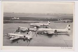 Vintage Rppc KLM K.L.M Royal Dutch Airlines Douglas Dc-6 & Constellation @ Schiphol Amsterdam Airport - 1919-1938: Fra Le Due Guerre
