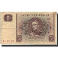 Billet, Suède, 5 Kronor, 1961, 1961, KM:42f, TB - Suède