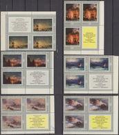 Russia, USSR 30.03.1974 CORNER BLOCKS OF 4 Mi # 4219-24 Ivan Aivazovsky Paintings MNH OG - Nuevos