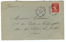 FRANCE 1925: LSC  Intéressante Affranchie à 10c., Avec Très Beaux CAD ''Convoyeur De Ligne'' - Storia Postale