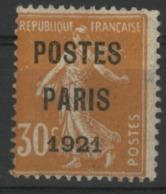 """N° 29 Cote 80 € 30ct Orange Sur Papier GC Surchargé """"POSTES / PARIS / 1921"""" Signé J.F. BRUN. - 1893-1947"""