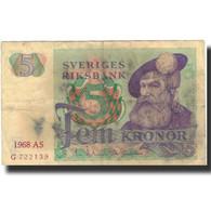 Billet, Suède, 5 Kronor, 1968, 1968, KM:51a, B - Suède
