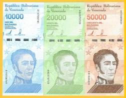Venezuela Set 10000, 20000, 50000 Bolivares P-new 2019 UNC Banknotes - Venezuela