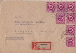 AUTRICHE YT N°521 MULTIPLES OBLITERES SUR LETTRE RECOMMANDEE POUR BREGENZ - 1945-.... 2nd Republic