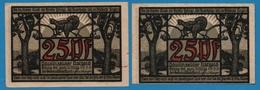 PAULINZELLA GEMEINDE 2x25pf  31.3.1922  NOTGELD - [11] Emissions Locales