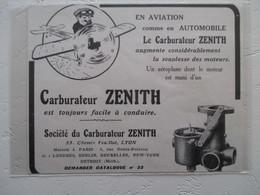 LYON  - Ets Zenith - Fabrication De Carburateurs Pour  Avion Monoplan  - Coupure De Presse De 1912 - GPS/Radios