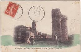 07 : VIVIERS : Esplanade - Vieille Tour Et Cathédrale ( Colorisée ) - Animée - - Viviers