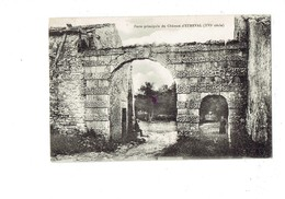 Cpa - 54 - ETREVAL - Porte Principale Du CHATEAU - Animation Enfant Prêtre - Matériel Agricole - 1928 - Autres Communes