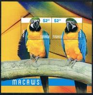 Bloc Sheet Oiseau Birds Perroquet Parrots Macaws Neuf MNH ** Tuvalu 2014 - Parrots