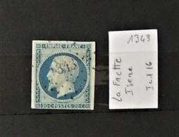03 - 20 //  France N° 14 Oblitéré PC 1343 - La Frette - Isere   - Indice 16 - 1853-1860 Napoleone III