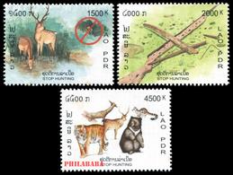 269 - Laos 2003  YT 1513-15 ; Mi# 1888-90 **  MNH  Campaign Against The Hunt - Laos