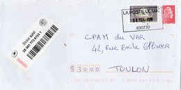 MARIANNE ROUGE ROULETTE + THEIERE ADH SUR LETTRE SUIVIE CAD LE LUC 6/2/2019 POUR TOULON - 2018-... Marianne L'Engagée