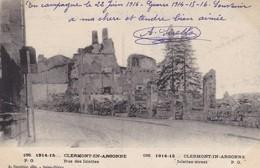 55  CLERMONT EN ARGONNE. MILITARIA.  GUERRE 1914-18 .RUE DES ISLETTES + TEXTE DU 22/ JUIN/ 1916 - Guerre 1914-18