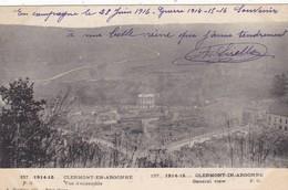 55  CLERMONT EN ARGONNE. MILITARIA.  GUERRE 1914-18 .VUE D'ENSEMBLE + TEXTE DU 23/ JUIN/ 1916 - Guerre 1914-18