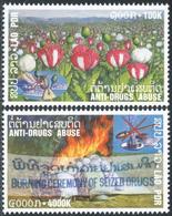 250 - Laos 2001  YT 1410-11 ; Mi# 1777-78 **  MNH  Fight Against Drug Abuse - Laos