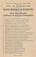 BRESSUIRE  Elections Municipales 1953  Liste Républicaine De Défense Des Intérêts Communaux - Historische Dokumente