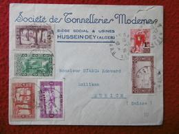 LETTRE ALGERIE CACHET HUSSEIN DEY VIA ZURICH 1940 - Altri
