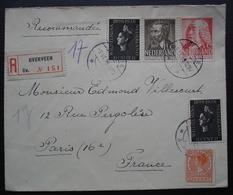 Nederland (Pays Bas) 1939 Lettre Recommandée De Overveen N°151 Pour Paris, France - Periodo 1891 – 1948 (Wilhelmina)